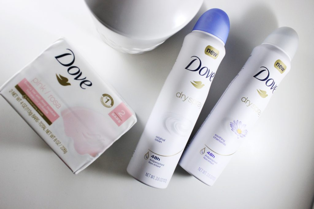 dove dry spray and pink beauty bar 1