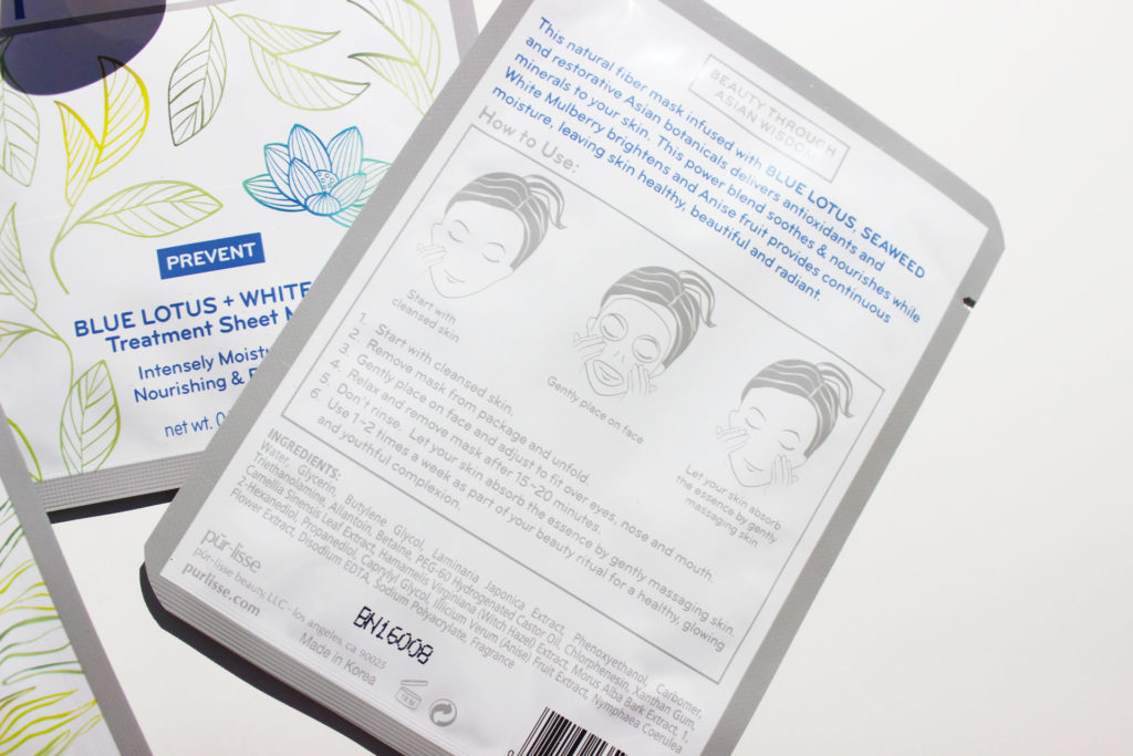 purlisse-blue-lotus-white-tea-sheet-mask-ingredients